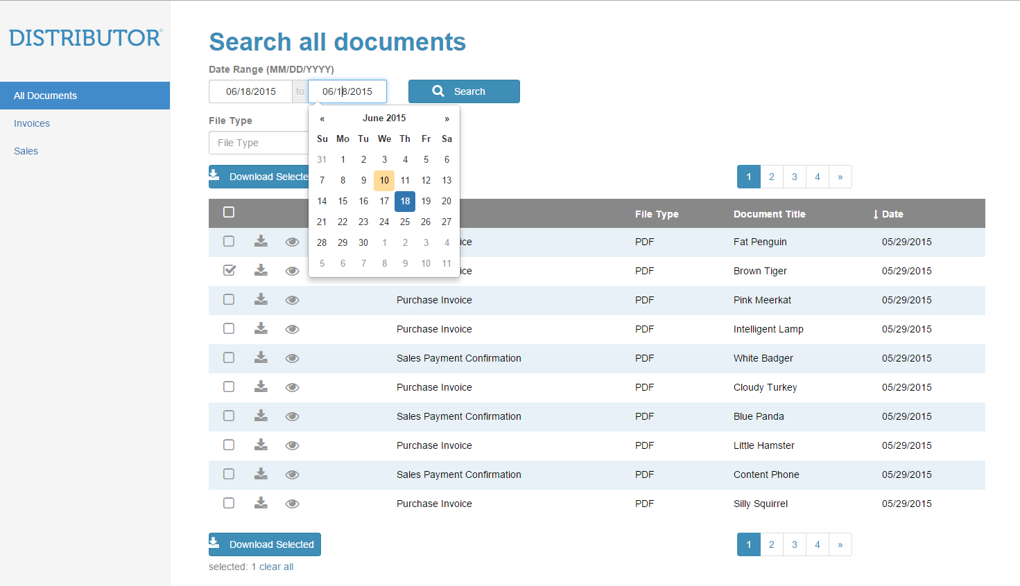 Datepickers make it easier to select document date ranges.