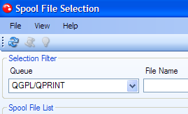 new spool file selection window