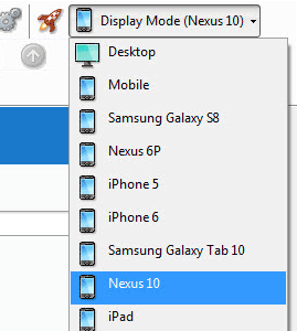 Dropdown of different mobile display modes